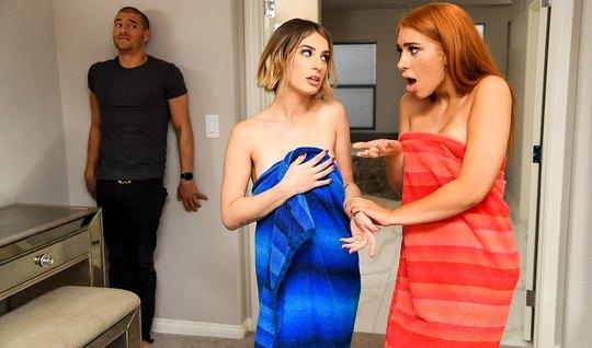 Парень в спальне получает групповой трах от рыжей и блондинк...
