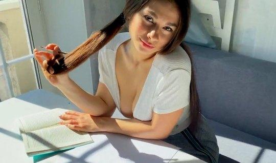Русская девушка в чулках встала раком для секса от первого л...